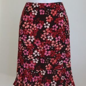 Loft floral skirt size 8P women's midi brown, pink